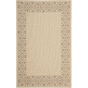 Amaryllis Cream/Light Chocolate Floral Indoor/Outdoor Rug
