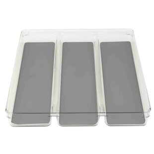 Read Reviews Plastic with Rubber Liner 1.75 x 15.87 x 12.75 Drawer Organizer By Home Basics