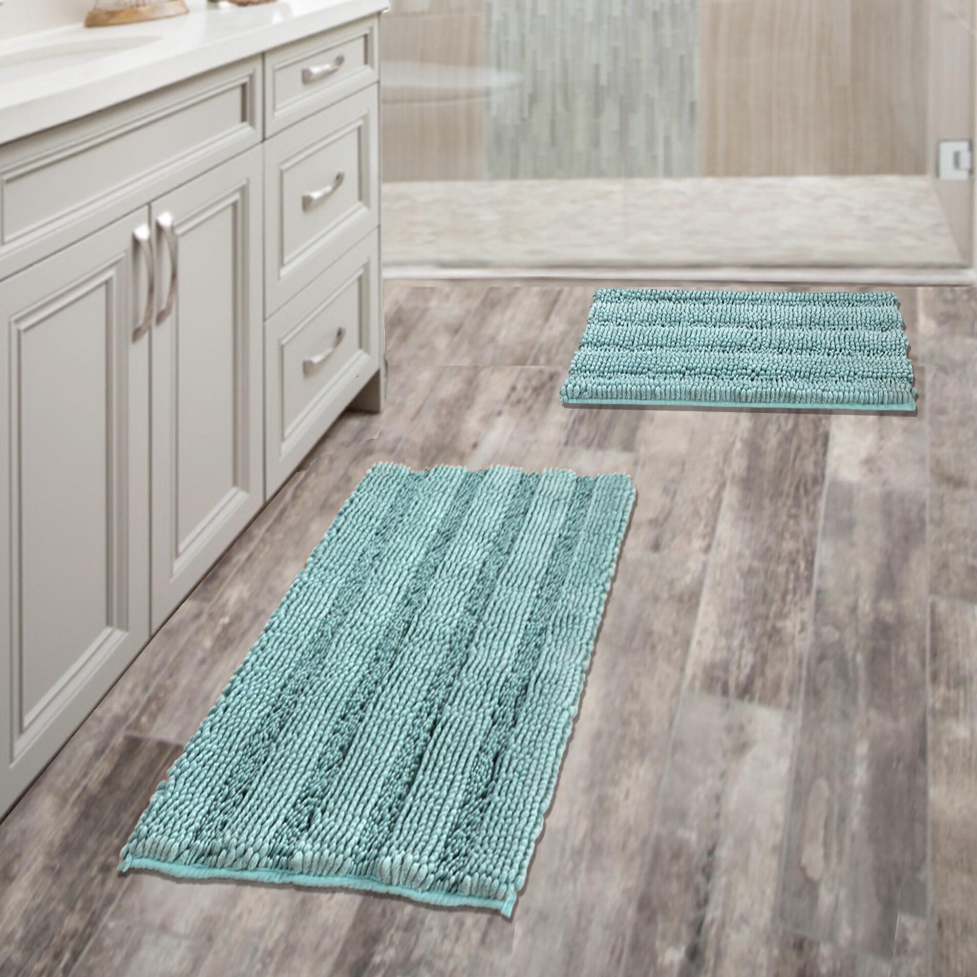 """Luxurious Bathroom Rug Silky /& Velvety Chenille Non-Slip Bath Mat 32 x 20/"""",Grey"""