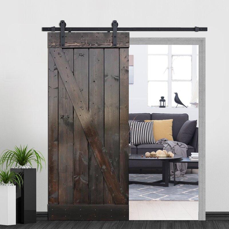 Elegant Z Bar Solid Wood Room Dividers Pine Slab Interior Barn Door