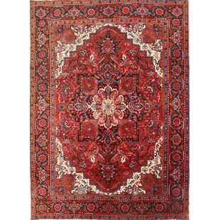 Order One-of-a-Kind Homan Vintage Traditional Geometric Heriz Persian Hand-Knotted 6'10 x 9'6 Wool Burgundy/Blue Area Rug By Isabelline
