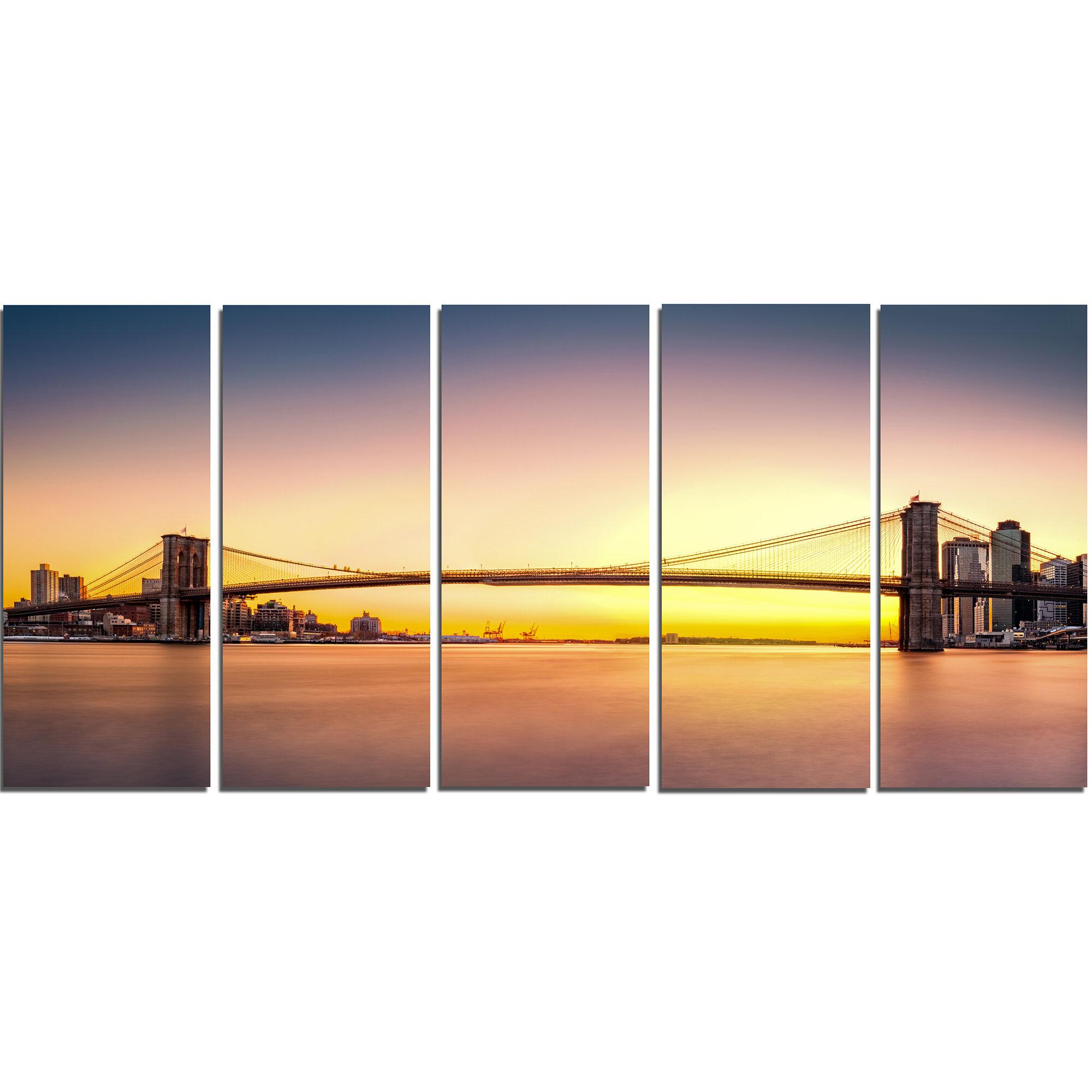 DesignArt Brooklyn Bridge Panorama Yellow Sky 5 Piece Wall Art on ...