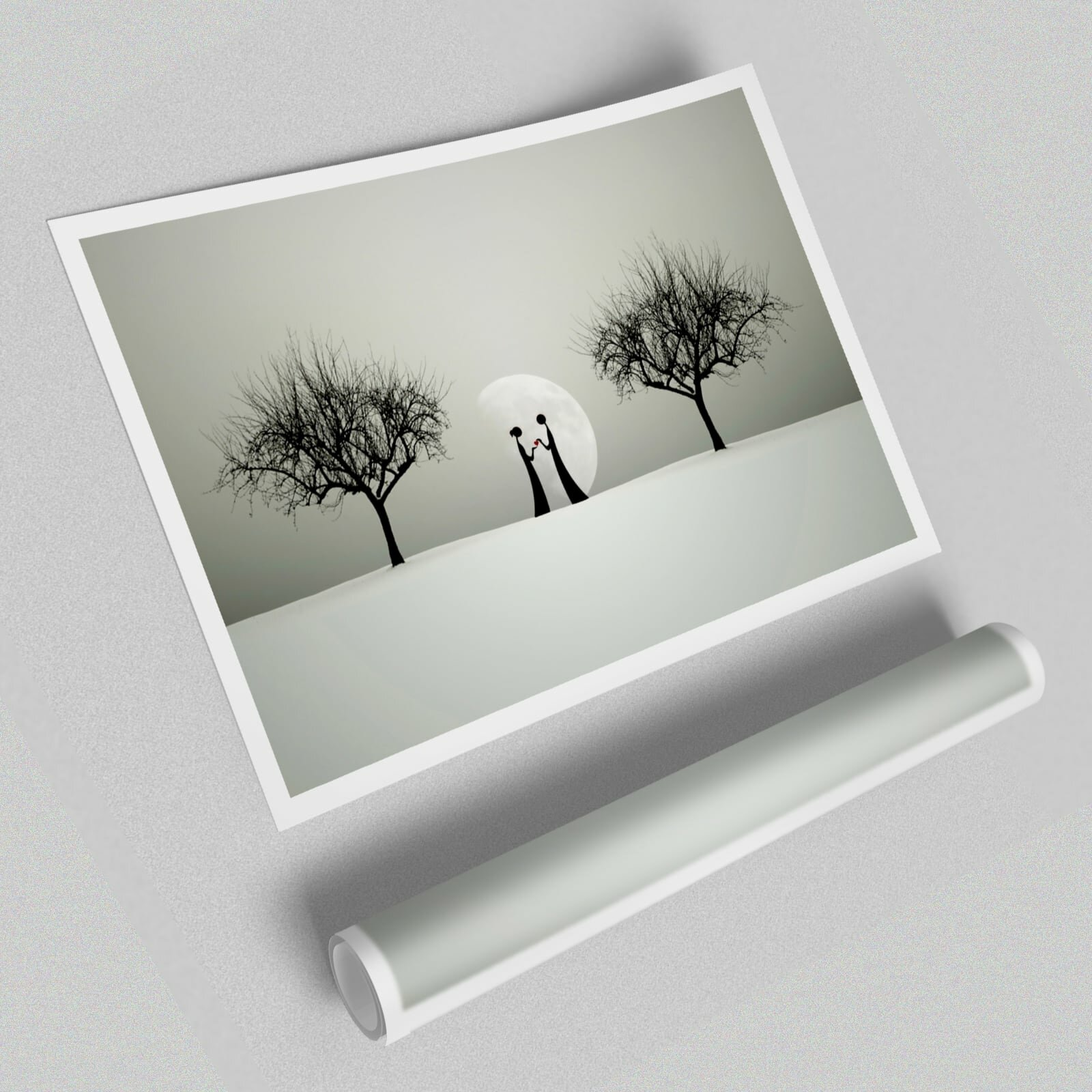 East Urban Home Love Between The Trees And Moon Unframed Typography Print On Paper Wayfair Co Uk