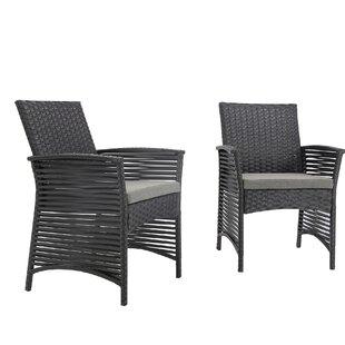 Ivy Bronx Reidsville Backyard Pool Rattan Wicker Patio Chair with Cushions (Set of 2)