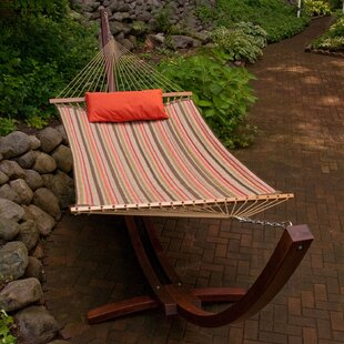 Red Barrel Studio Cardona Striped Sunbrella Double Tree Hammock