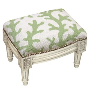 Coral Wool Needlepoint Upholstered Ottoman