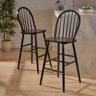 Abaokoro Traditional Rubberwood 29 Bar Stool (Set of 2) Alcott Hill