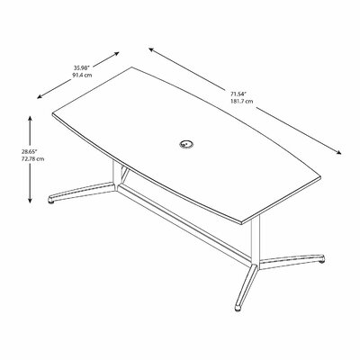 Bush Business Furniture Eden 60000 Series Boat Shaped Conference Table Size: 28.65 H x 71.54 L x 35.98 W, Top Finish: Hansen Cherry