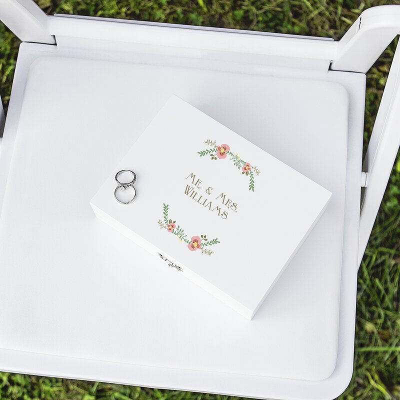 Cathys concepts personalized floral wedding ring bearer box wayfair personalized floral wedding ring bearer box junglespirit Images