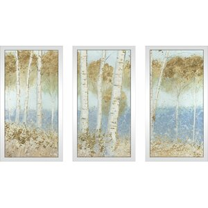 'Summer Birches' Framed Acrylic Painting Print Multi-Piece Image on Glass