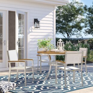 Caspian 5 Piece Tekwood Dining Set with Stackable Chairs