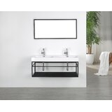 Floating 48 Wall-Mounted Double Bathroom Vanity Set with Mirror by Streamline Bath