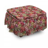 Abstract Rose Flower Surreal 2 Piece Box Cushion Ottoman Slipcover Set by East Urban Home