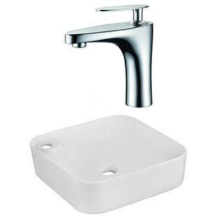 Read Reviews Ceramic Square Vessel Bathroom Sink with Faucet ByAmerican Imaginations