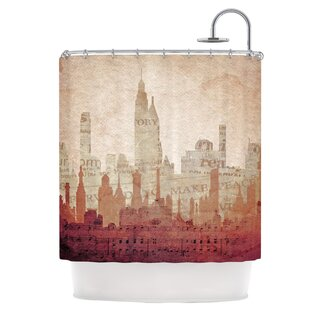 City Single Shower Curtain by East Urban Home Best Design