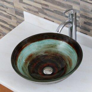 Elimaxs Elite Glass Circular Vessel Bathroom Sink