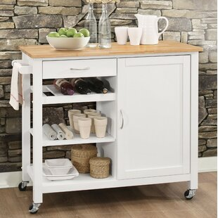 Rodrigo Kitchen Cart with Solid Wood Top Charlton Home