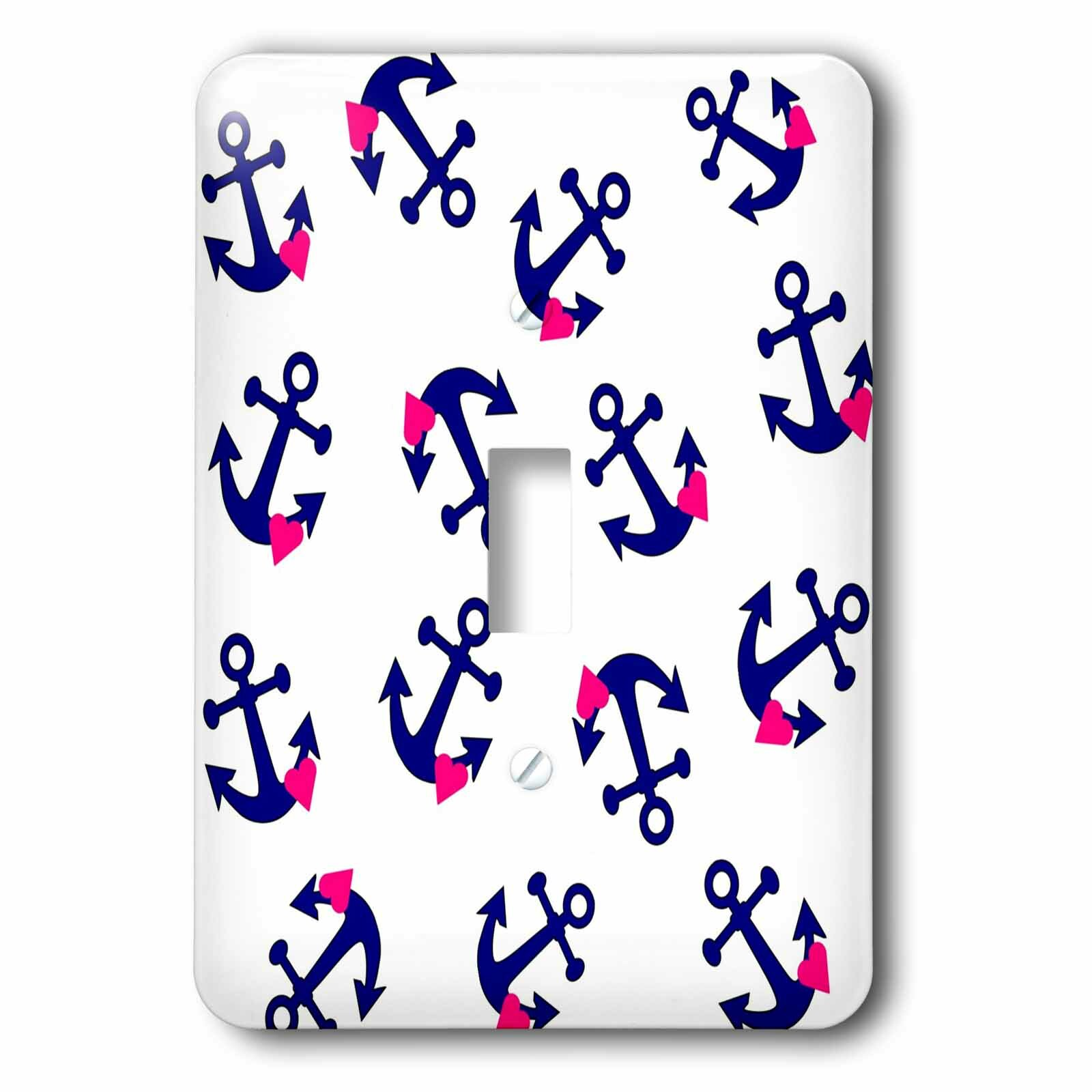3drose Nautical Anchor With Hearts 1 Gang Toggle Light Switch Wall Plate Wayfair