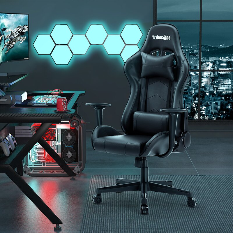 Leicha High Back Gaming Chair Racing Office Computer Ergonomic Video Game Chair High Back Adjustable Task Chair With 2d Armrest Headrest And Lumbar Support E Sports Massage Chair Wayfair