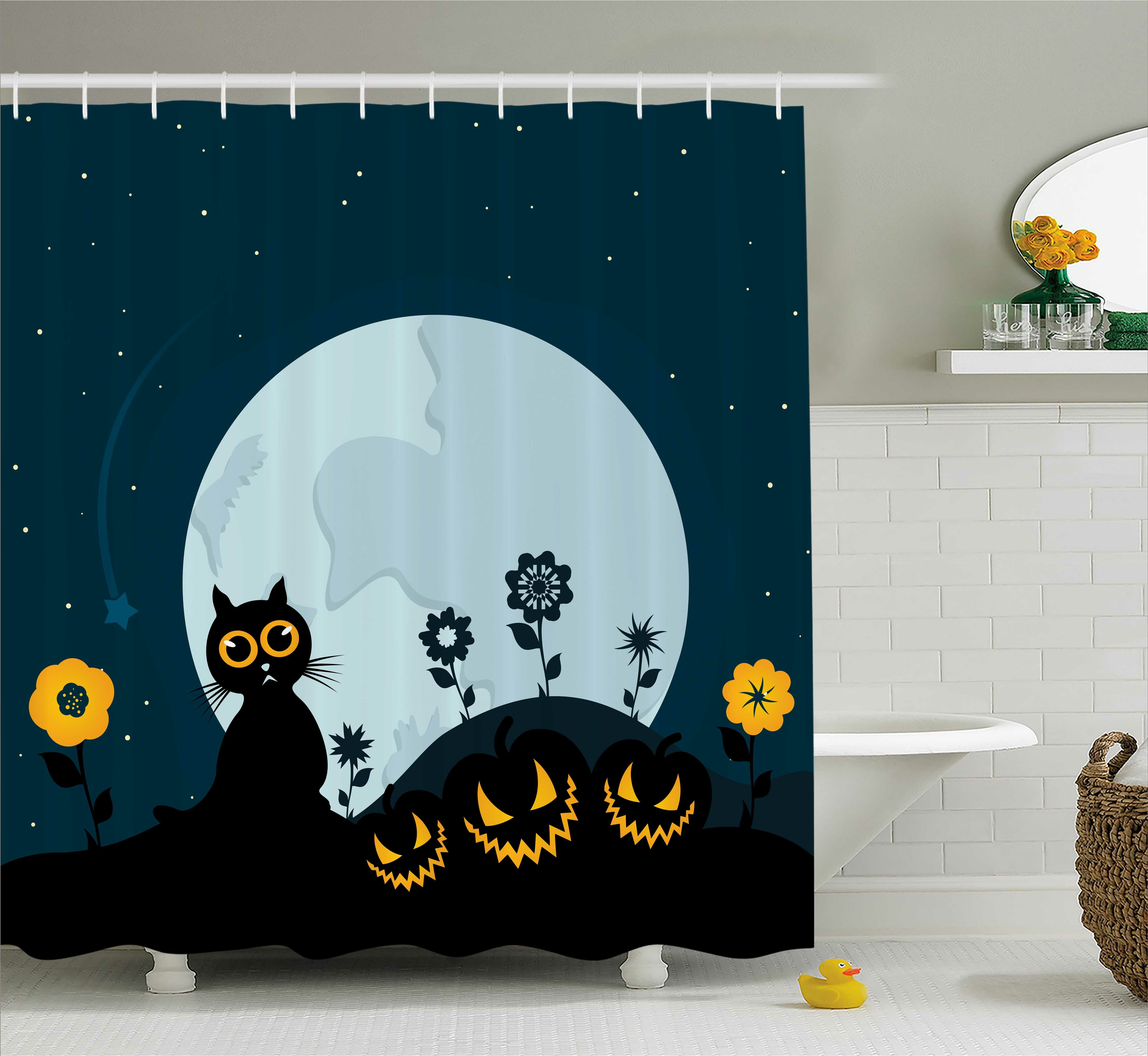 Cat Kitty Under Moon Halloween Shower Curtain Hooks