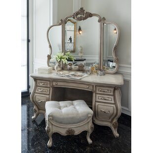 Michael Amini Platine De Royale Vanity Set with Mirror