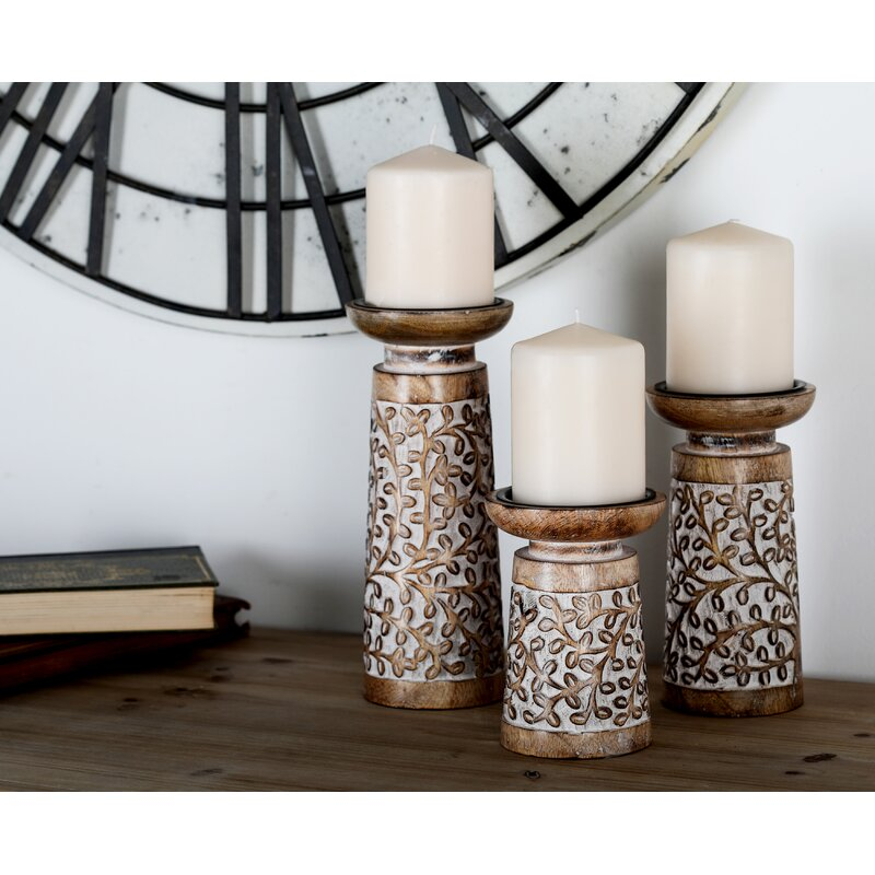 Bierman Piece Wood Candlestick Set Reviews Birch Lane