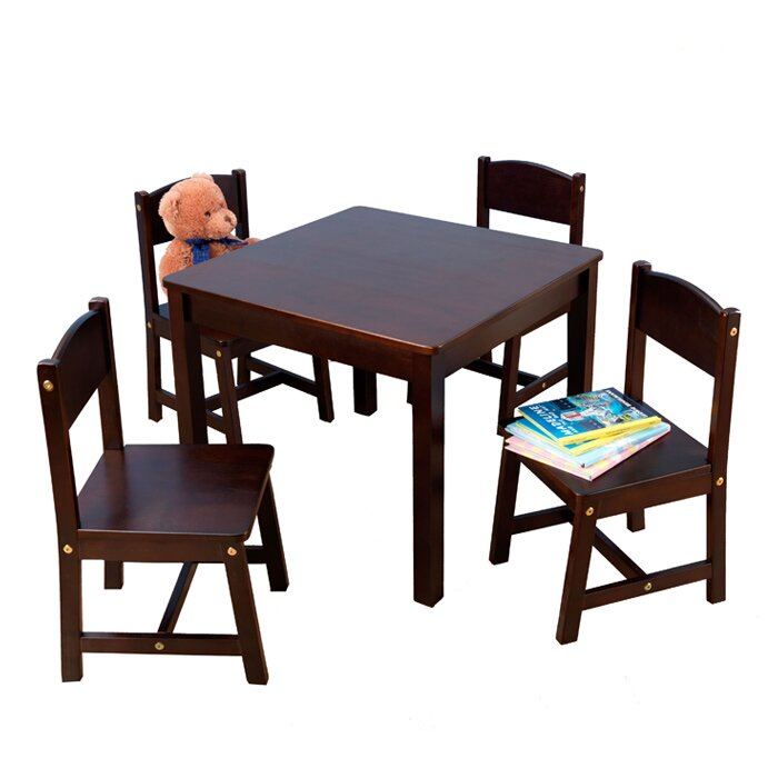 Farmhouse Kids 5 Piece Square Table and Chair Set  sc 1 st  Wayfair & KidKraft Farmhouse Kids 5 Piece Square Table and Chair Set u0026 Reviews ...