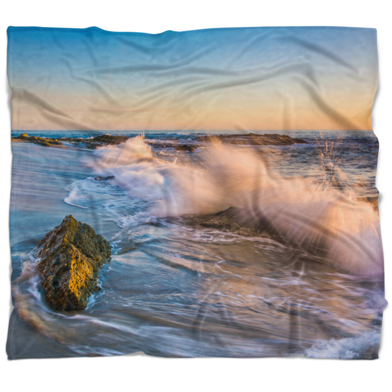 East Urban Home Seascape Crashing Waves At Victoria Beach Blanket Wayfair
