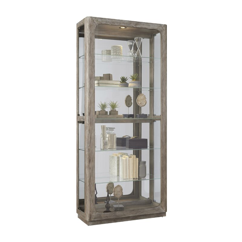 Curio Cabinet Brown Glass Wood Hanging Display Case Collectibles Den Livingroom
