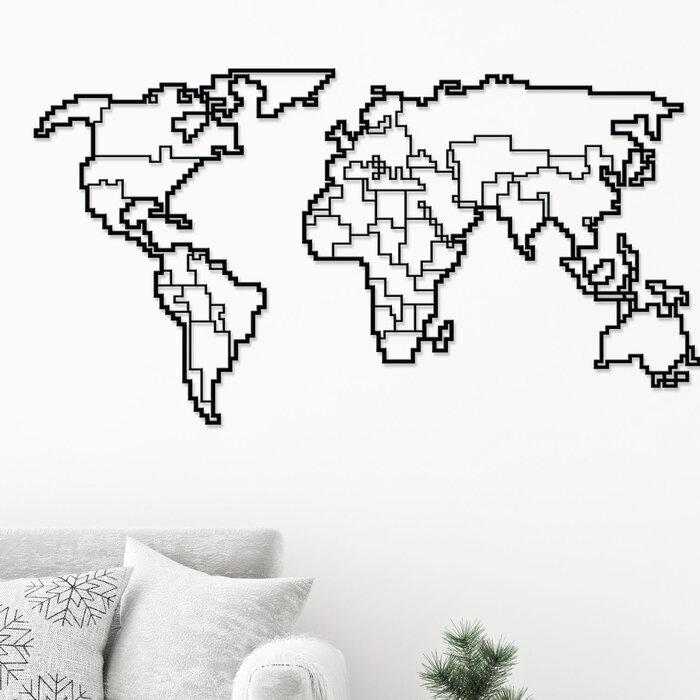 World Map Modern Metal Wall Decor