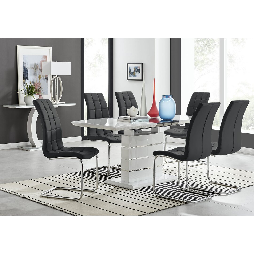 Renato 120Cm High Gloss Extending Dining Table And 6 White E