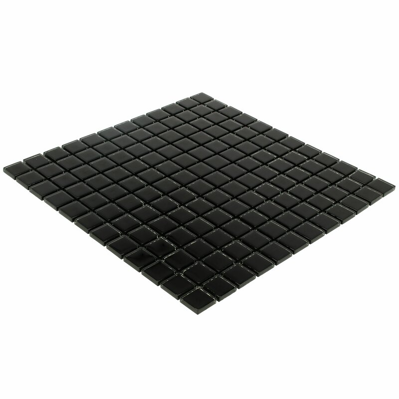 Mosaictileoutlet Stacked Squares 1 X 1 Glass Mosaic Tile In Glossy Black Reviews Wayfair