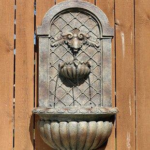 Fleur De Lis Living Lewes Polystone Solar Outdoor Wall Fountain