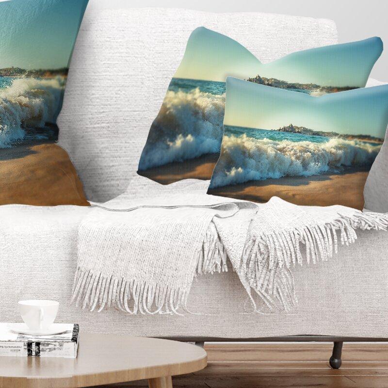 East Urban Home Stormy Waves Hitting Beach Sand Lumbar Pillow Wayfair