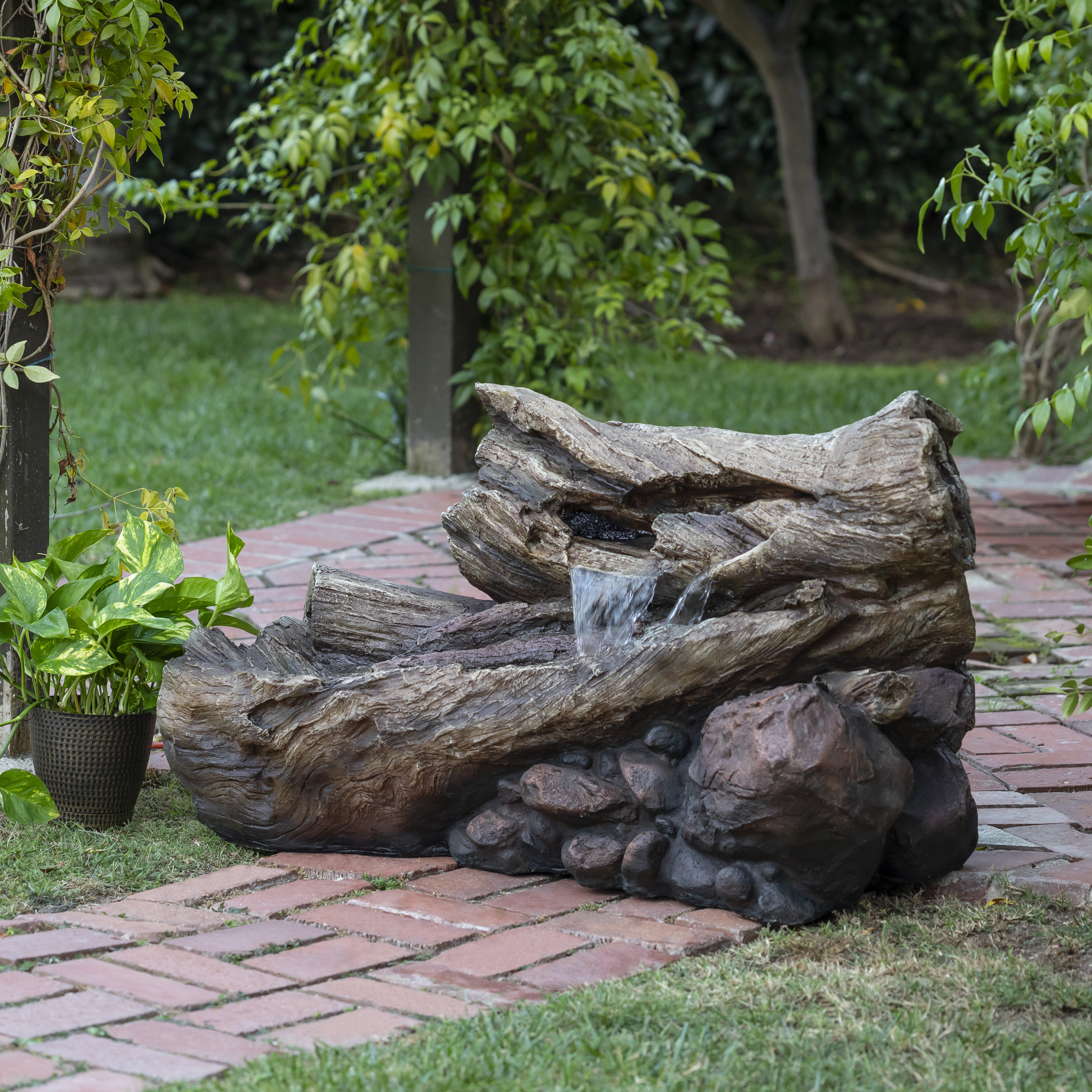 Cement Tree Stump and Rock Outdoor Fountain