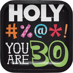 Holy Bleep 30th Birthday Appetizer Plate (Set of 24)