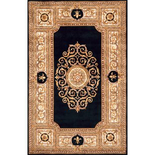 Gansevoort Hand-TuftedWool Black/Gold/Ivory Area Rug By Astoria Grand