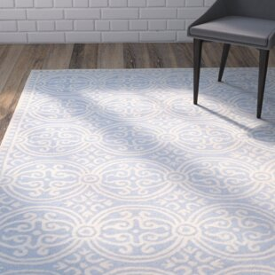 Martins Hand-Tufted Wool Light Blue/Ivory Area Rug by Wrought Studio