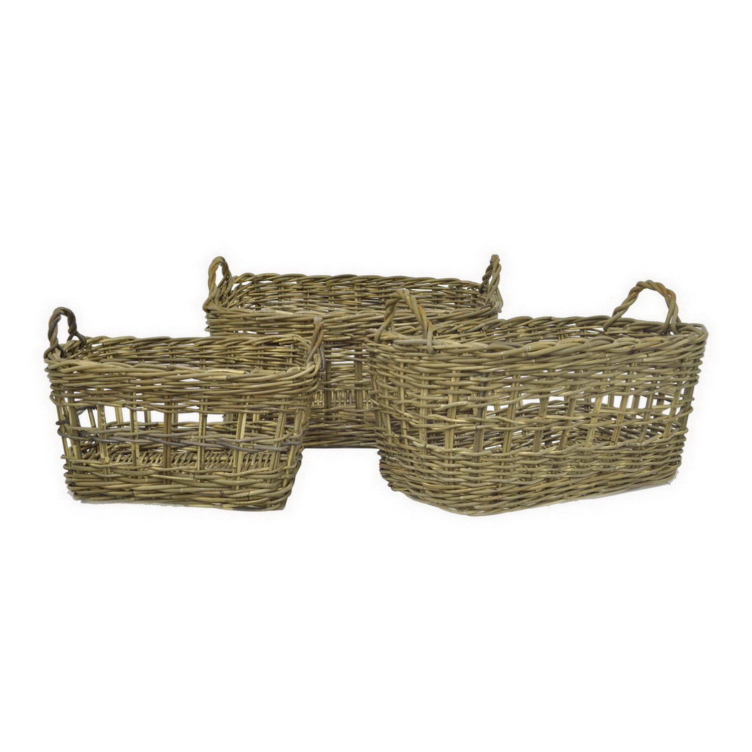 Woven Wood 3 Piece Basket Set By Rosecliff Heights
