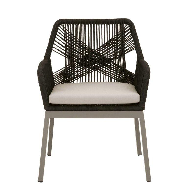 d79041cdb4d0 Bungalow Rose Arnette Rope Weave Design Patio Dining Chair | Wayfair