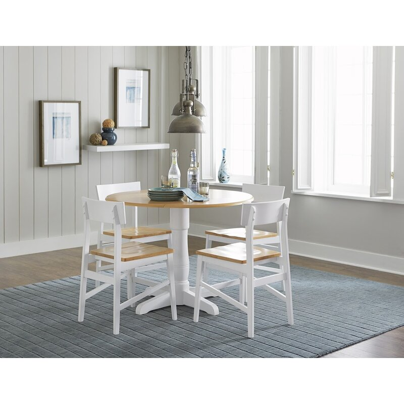 Silver Dining Table And Chairs, Beachcrest Home Finley Round 5 Piece Drop Leaf Dining Set Reviews Wayfair