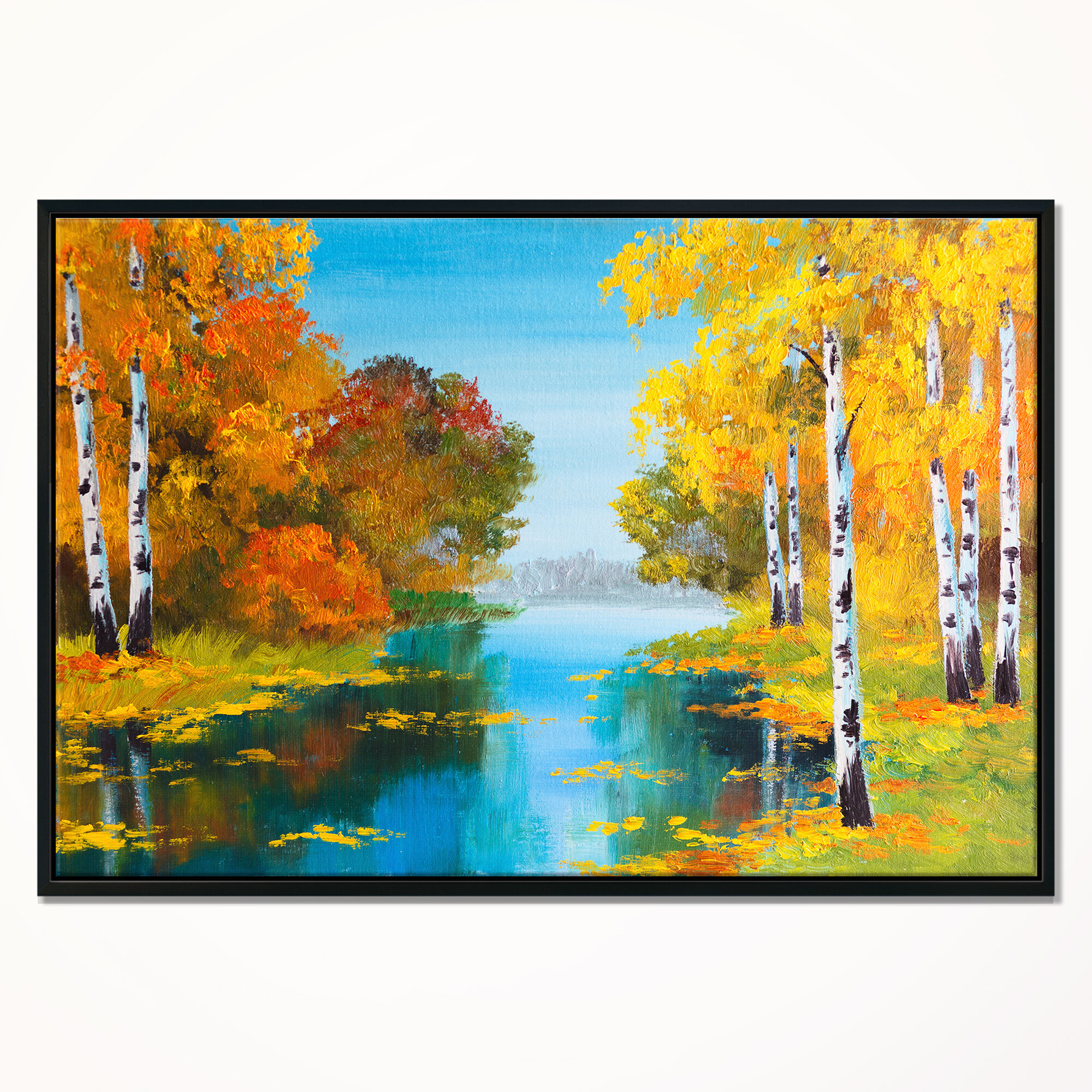 East Urban Home Birch Forest Near The River Framed Oil Painting Print On Wrapped Canvas Wayfair