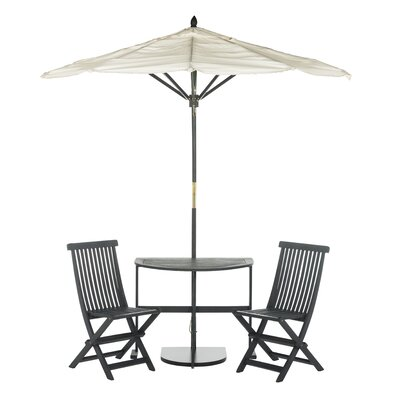 Southington 3 Piece Bistro Set with Umbrella Finish: Slate Gray by Andover Mills