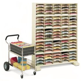 100 Pocket Mail Sorter with Caster Base Charnstrom Color Putty