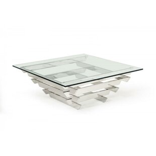 Clearbrook Metal and Glass Coffee Table by Orren Ellis
