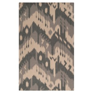 Double Mountain Hand Woven Wool Parchment/Gray Area Rug
