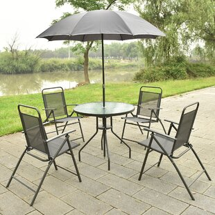 Red Barrel Studio Beeson 6 Piece Dining Set with Umbrella