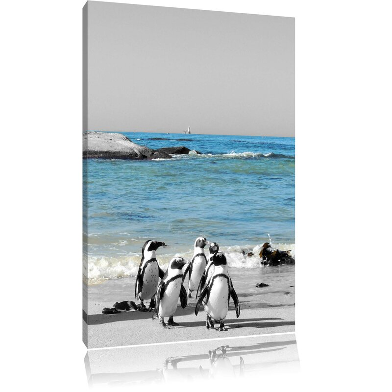 PINGUINS FAMILY ON THE BEACH BOX CANVAS PRINT WALL ART PICTURE
