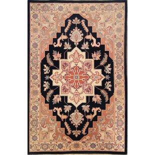 Affordable Lockeport Heriz Oriental Hand-Knotted Wool Beige/Black Area Rug ByBloomsbury Market