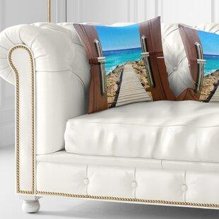 Wooden Sea Bridge Door Open to Wooden Ocean Pier Pillow by East Urban Home